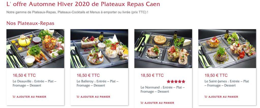 Plateau-repas Caen Capture d'écran du site internet avec 4 Plateaux repas